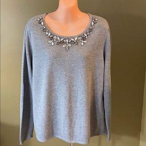 Chico's Jeweled Neck Sweater